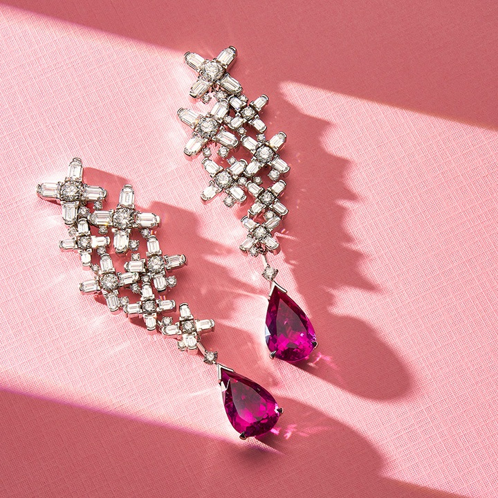 Arch Florale High Jewelry Earrings, 18k White Gold with DAVIDOR Arch Cut Diamonds, Brilliant Diamond and Pear Shape Rubellites.