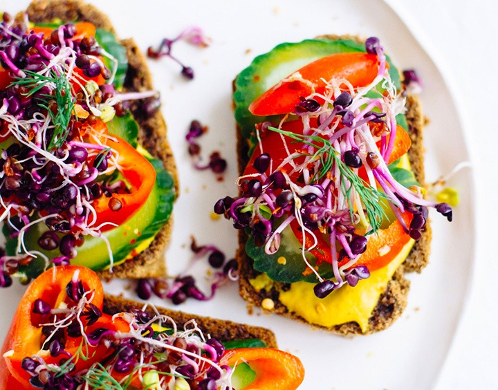 This open-faced sprout sandwich, is a go-to for Kooienga while at home working long hours.