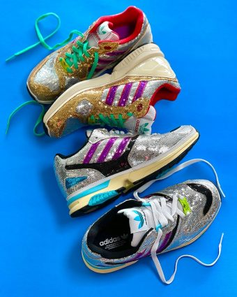 Adidas ZX 4000 Glitter Silver and ZX 6000 Glitter Gold sneakers available at Addict Bal Harbour.
