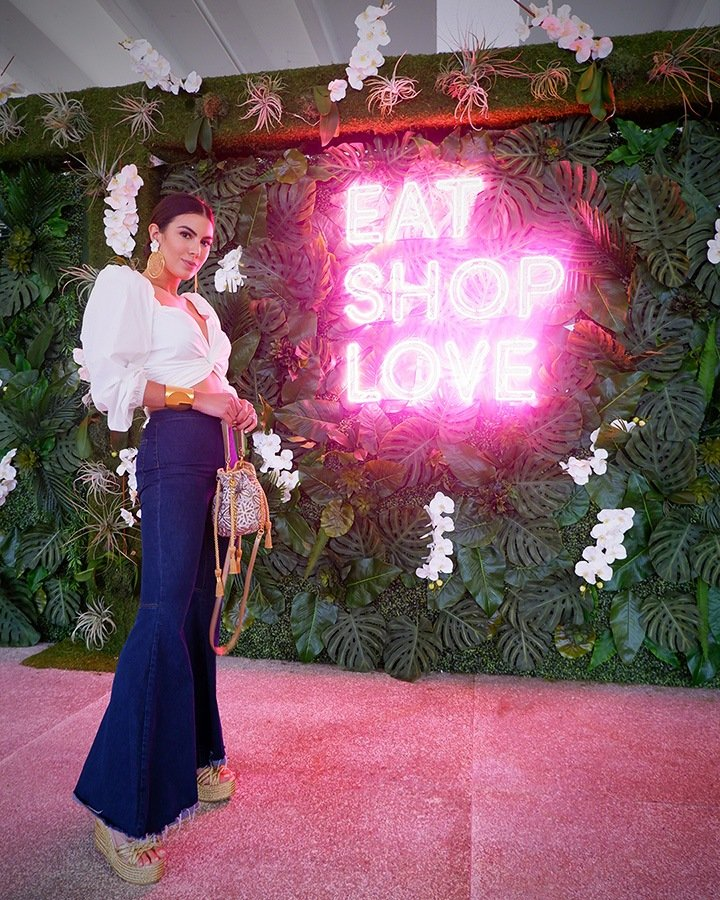 Adriana Paniagua at our EAT SHOPS LOVE Instagrammable Wall Installation on Level 3 of Bal Harbour Shops.