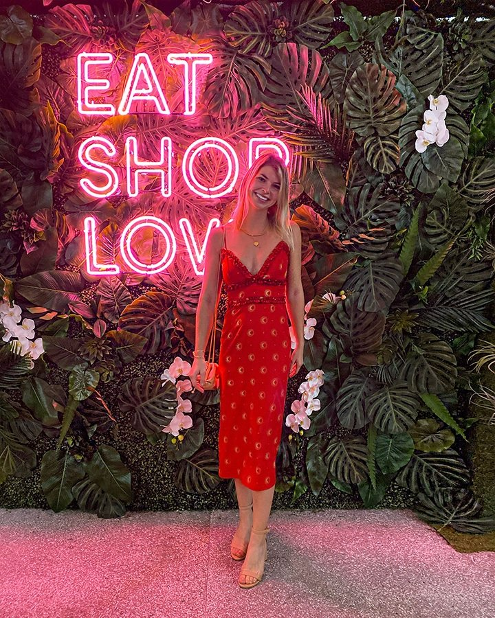 Alex Windsor at our EAT SHOPS LOVE Instagrammable Wall Installation on Level 3 of Bal Harbour Shops.