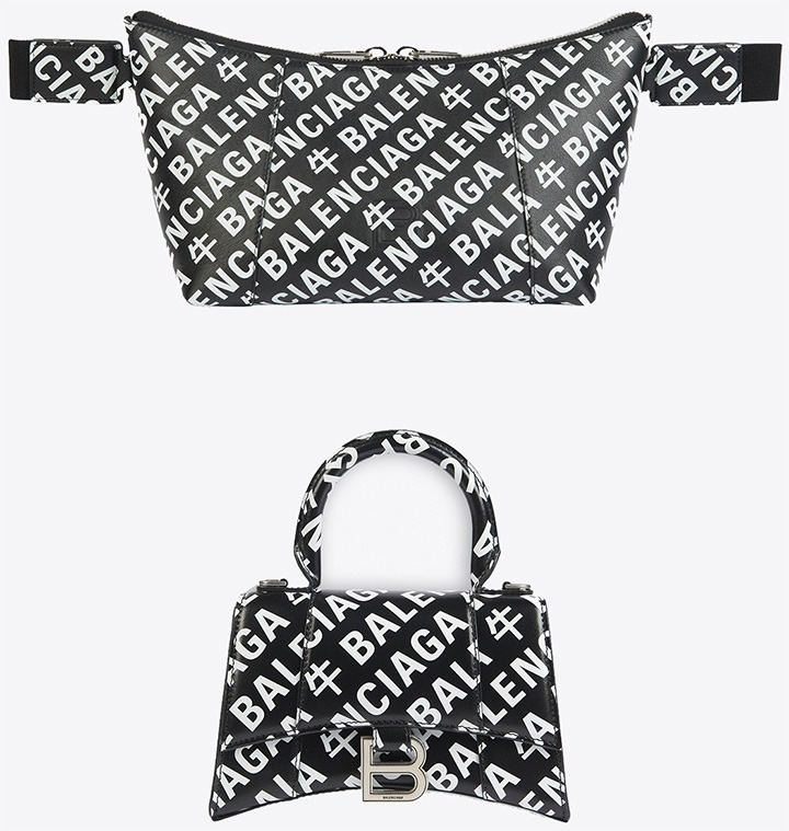 """Hourglass Mini-Top Handle Bag and Everyday XS Beltpack from Balenciaga's """"Year of the Ox"""" Collection."""