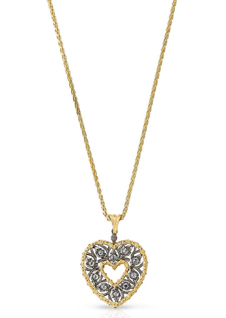 Buccellati Burnished Ramage heart pendant from the Heart Collection.