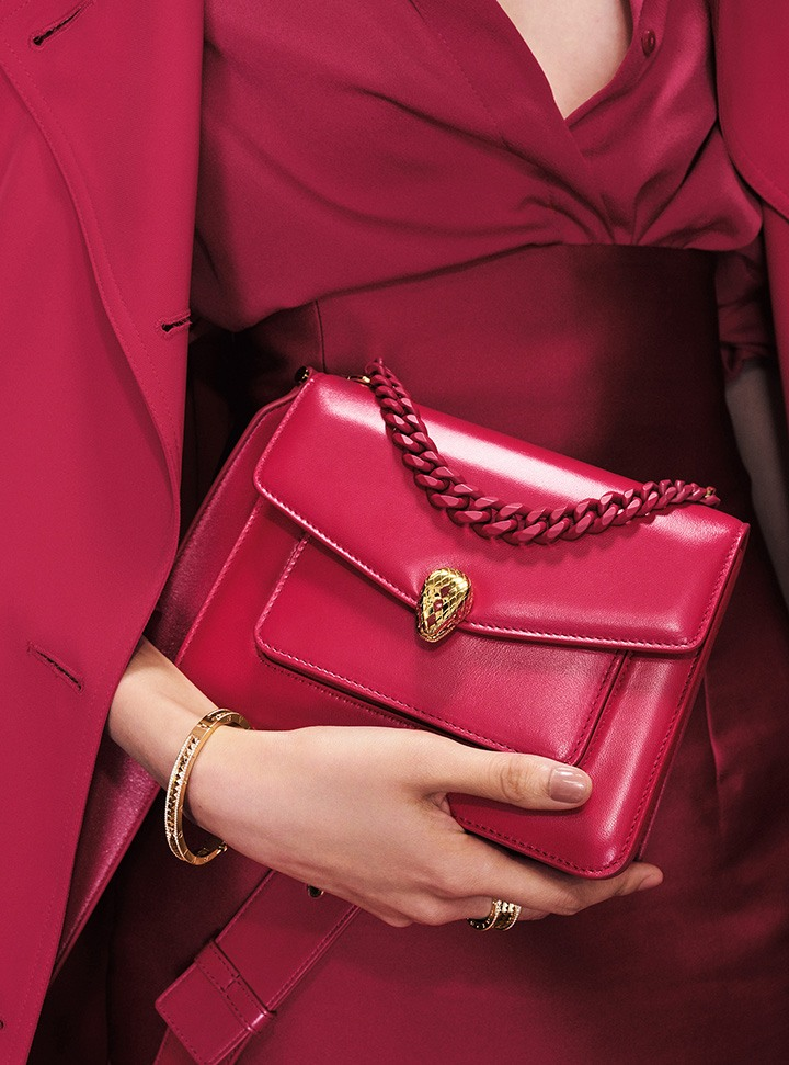 B.zero 1 Bracelet and Serpenti Forever Crossbody Bag from Bulgari's Lunar New Year Gift Collection.