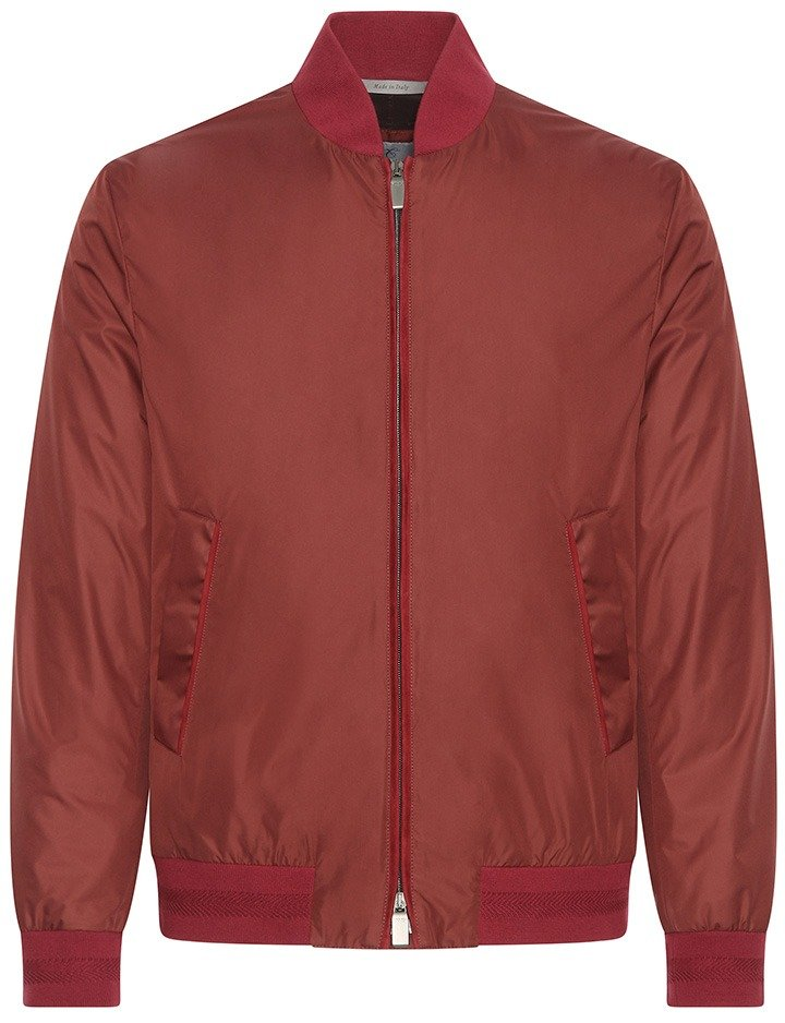 Canali Red Baseball collar, lightweight rain repellant nylon bomber with suede detail.