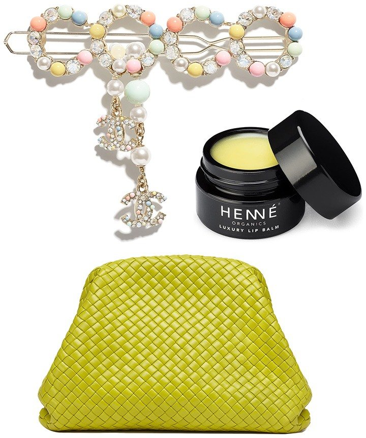 Top to Bottom: Chanel barrette with metal and glass pearls, Henne Organics luxury lip balm and Bottega Veneta pouch in kiwi.