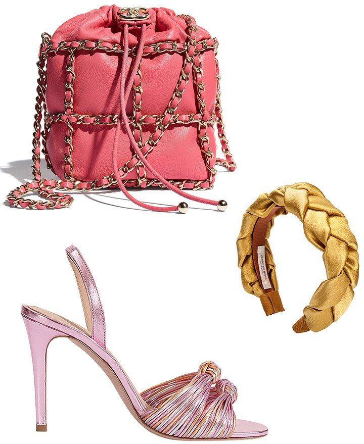 From top to bottom: Coral Chanel drawstring bag, Jennifer Behr headband, available at Veronica Beard Bal Harbour and Veronica Beard sandal.