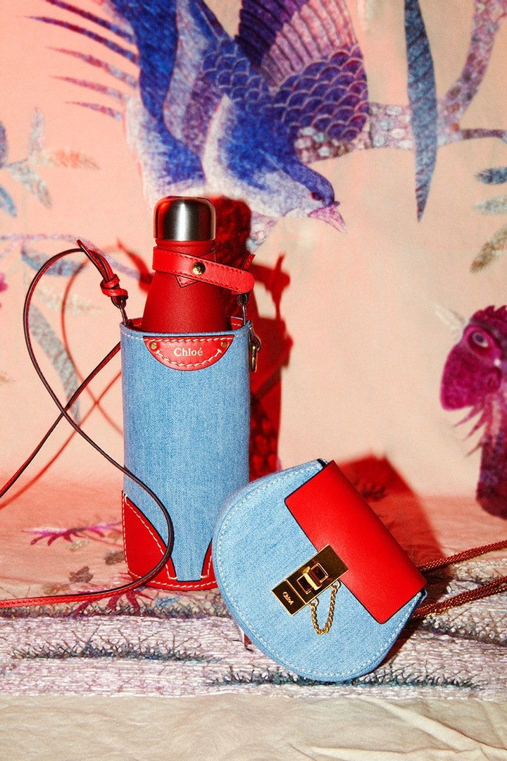 Drew Bag and Fredy Water Bottle Bag in Denim from Chloé's 2021 Chinese New Year Collection.