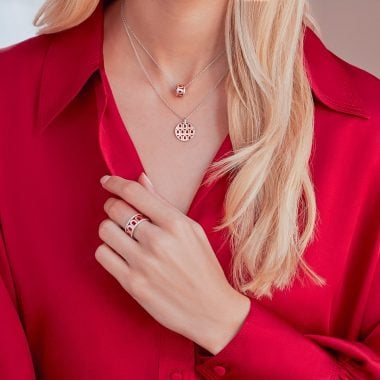 L-Arc de DAVIDOR Bead, Pendant and Ring in 18k White Gold with Fraise Lacquered Ceramic.