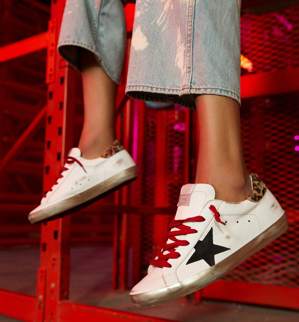 Golden Goose Super-Star sneakers with leopard-print heel tab and red laces