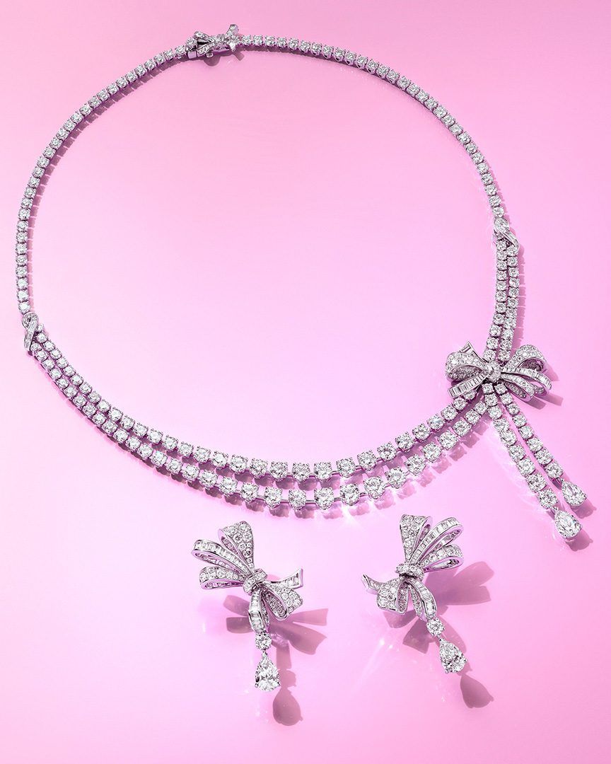 Graff Bow Collection Necklace & Earrings.
