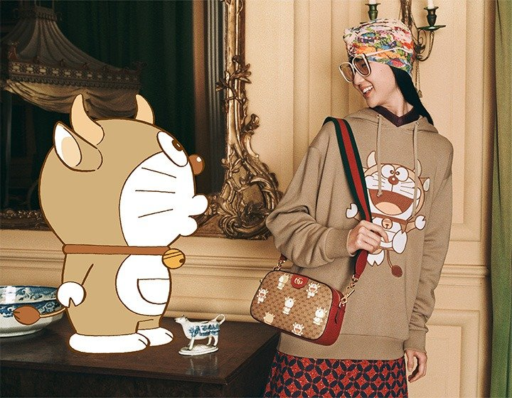 Hooded Sweatshirt and Bag from the Doraemon X Gucci Epilogue 2021 Lunar New Year Collection.