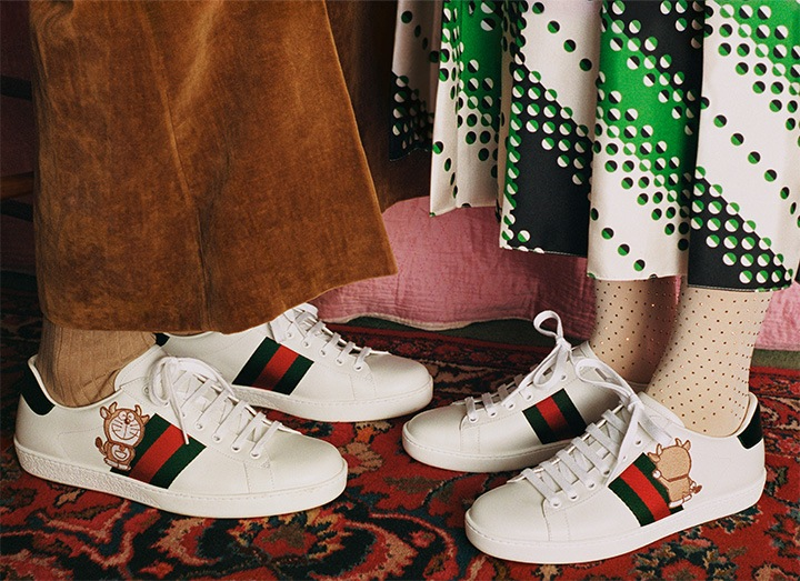 Men's and Women's Ace Sneakers from the Doraemon X Gucci Epilogue 2021 Lunar New Year Collection.