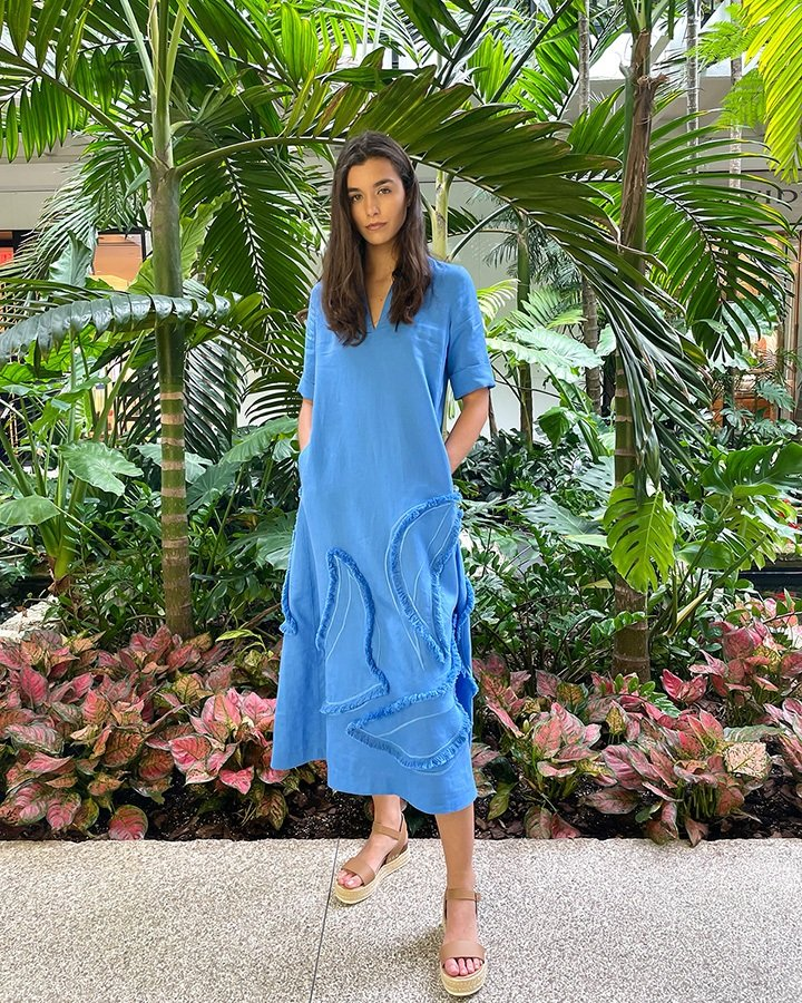 Lafayette 148 New York summer linen eyelash embellished Sera dress from the SS21 collection.