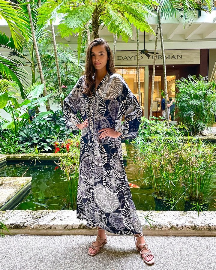 Marie France Van Damme Dandelion-printed silk Boubou caftan from the SS21 collection.