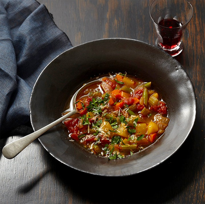 Minestrone, adapted from How to Cook Everything Vegetarian, 2nd Edition.