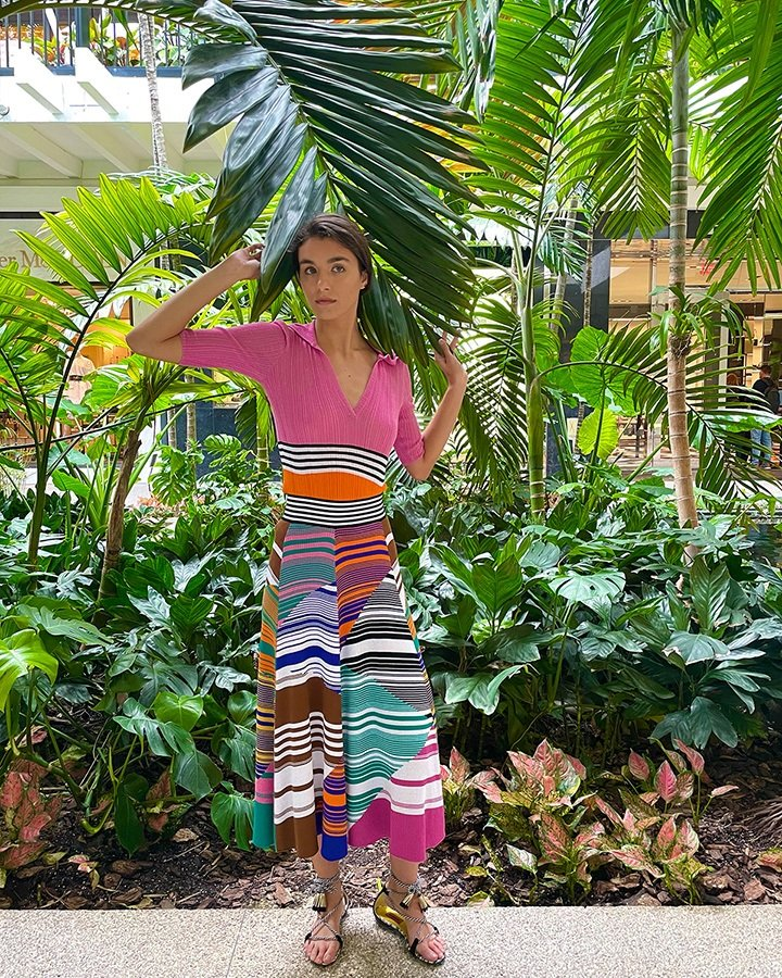 Missoni knit blouse, wide waist technicolor knit skirt and sandals with ankle lacing and small tassels from the SS21 collection.