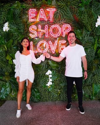 Nico Norena and Ariana Rueda at our EAT SHOPS LOVE Instagrammable Wall Installation on Level 3 of Bal Harbour Shops.