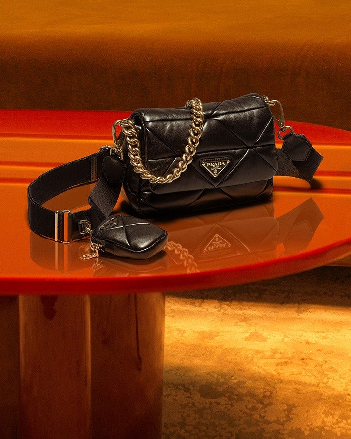 """""""System"""" Quilted Nappa Leather Bag with removable chain from Prada's Spring Summer 2021 Collection."""