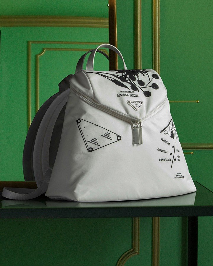 """""""Signaux"""" printed nylon Backpack from Prada's Spring Summer 2021 Collection."""