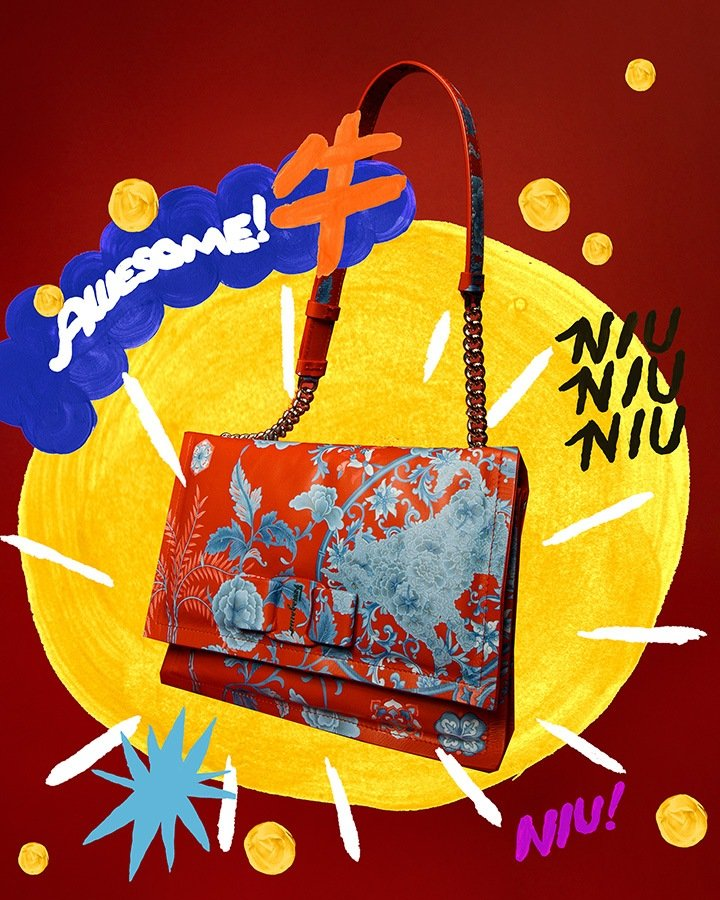 """Viva Bow Bag from Salvatore Ferragamo's """"Year of the Ox"""" creative project with exclusive artworks created by artist Charlotte Mei."""