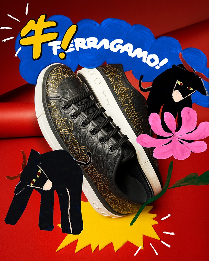 """Gancini Sneaker from Salvatore Ferragamo's """"Year of the Ox"""" creative project with exclusive artworks created by artist Charlotte Mei."""