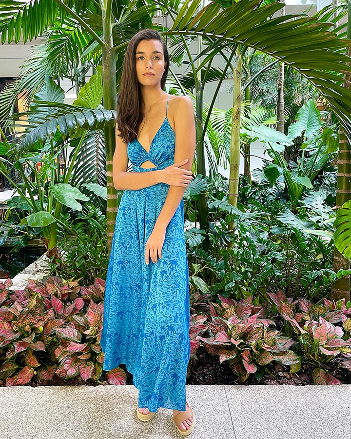 Scanlan Theodore silk tropical Azure strappy dress from the SS21 collection.