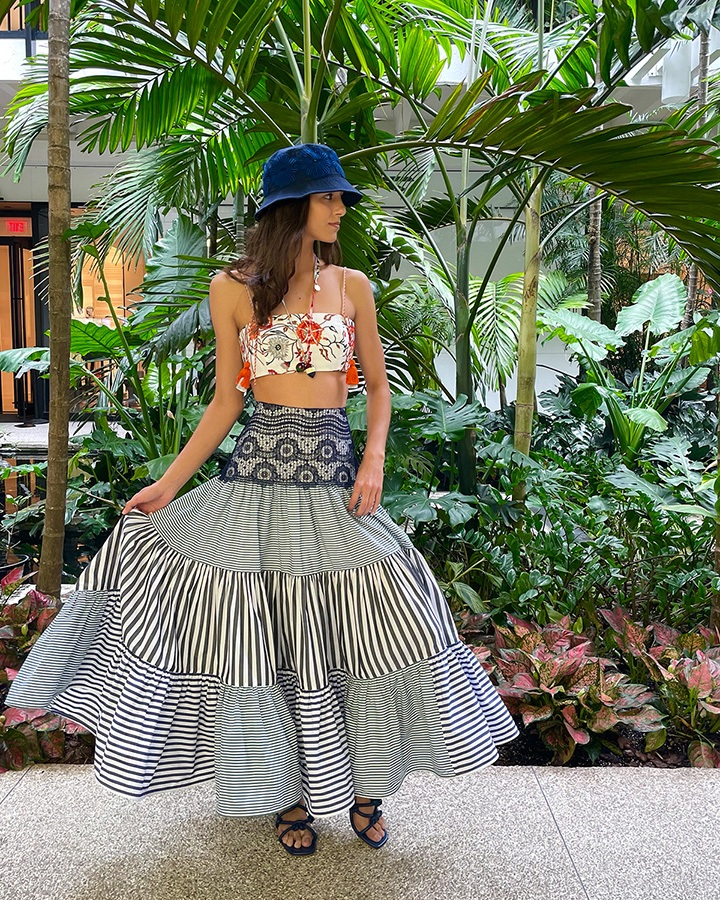 Silvia Tcherassi Hammon bucket hat, Fresco bralette and Flagler skirt from the SS21 collection.