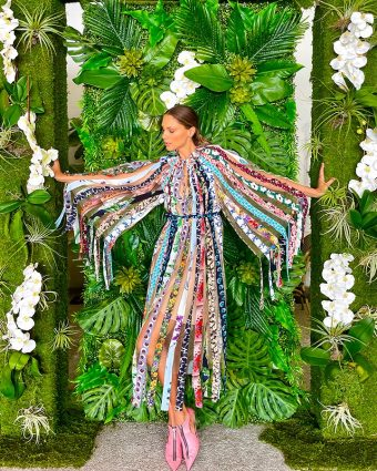 Stella McCartney Gabriela Dress, made from repurposed printed stock from 9 past ready to wear collections.