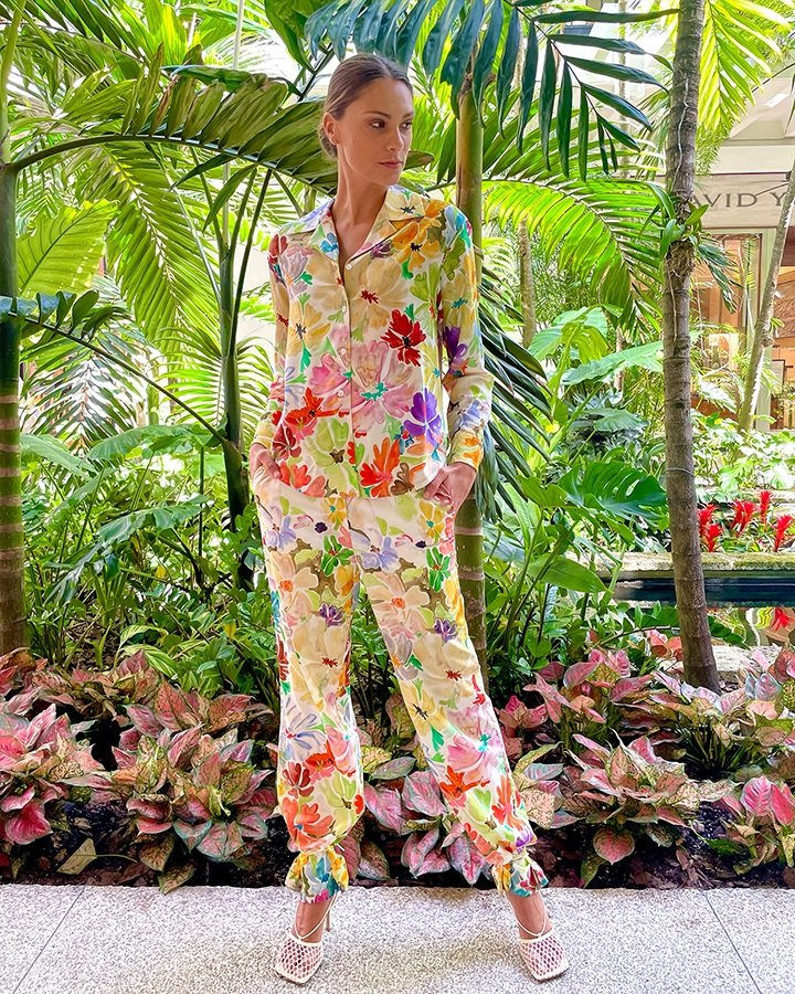 Rossie Assoulin PJ shirt and pants featuring a watercolor print design and relaxed fit; available at The Webster Bal Harbour.