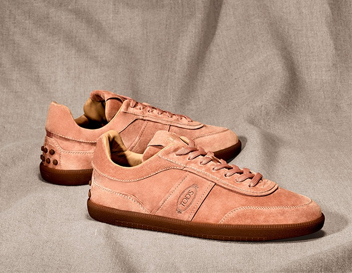 Tod's Pink Sneakers in Suede.