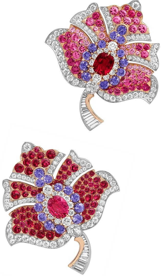 """Van Cleef & Arpels """"Fogliame"""" clips from the """"Romeo & Juliet"""" collection."""