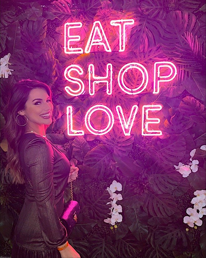 Vanessa Borge at our EAT SHOPS LOVE Instagrammable Wall Installation on Level 3 of Bal Harbour Shops.