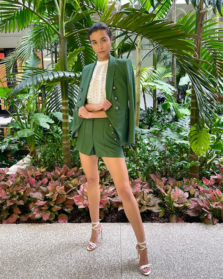 Veronica Beard Amadi textured sateen Dickey jacket, pine textured Sateen short and Jie eyelet top from the SS21 collection.