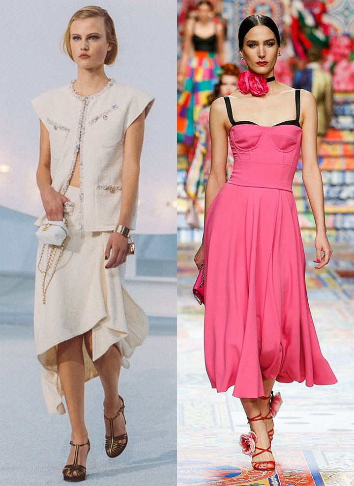 From left: looks from Chanel and Dolce & Gabbana's SS21 collections.