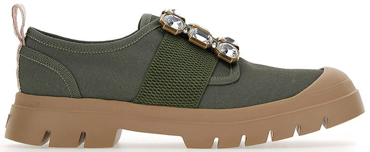 Walky Viv crystal buckle sneaker in recycled canvas with rubber soles.