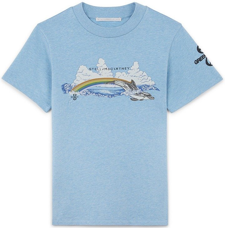 Stella McCartney GreenPeace T-shirt in light blue with dolphin graphic.