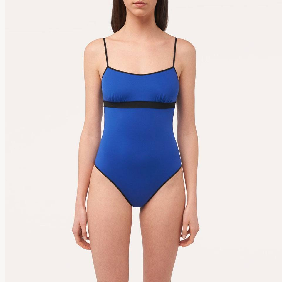 Color-block swimsuit in cobalt and black
