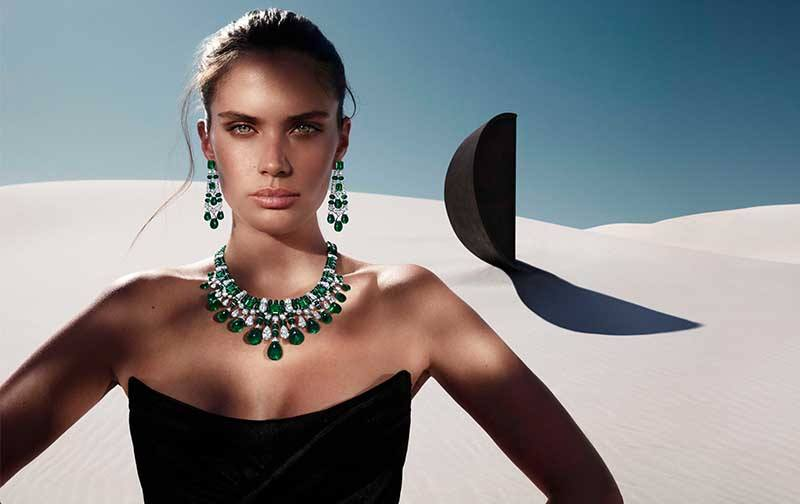 Graff Tribal collection 418.02-carat emerald and 75.60-carat diamond necklace, set in white gold; and 59.83-carat emerald and 8.93-carat diamond earrings, set in white gold.