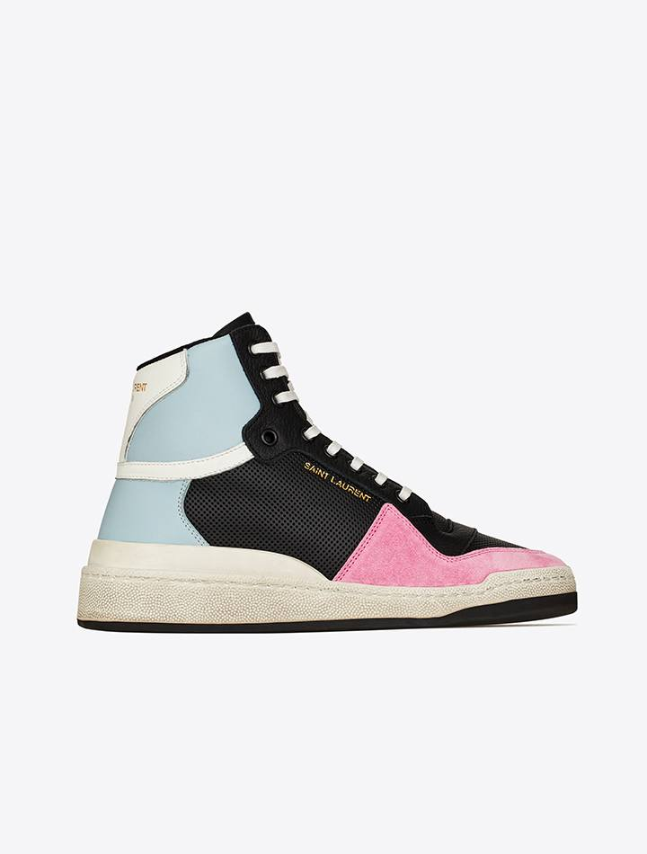 Saint Laurent leather and suede mid-top sneakers