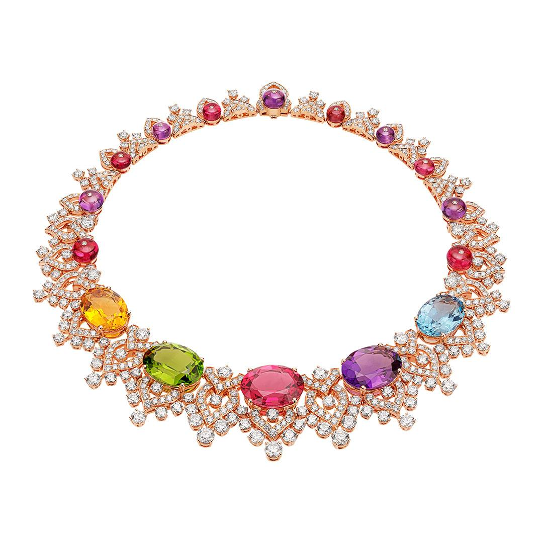 Bulgari Barocko high jewelry necklace with cabochon-cut stones in tanzanite, tourmaline, citrine, rubellite, amethyst, peridot and topaz, along with 25 spinels and nearly 30 carats of diamonds.