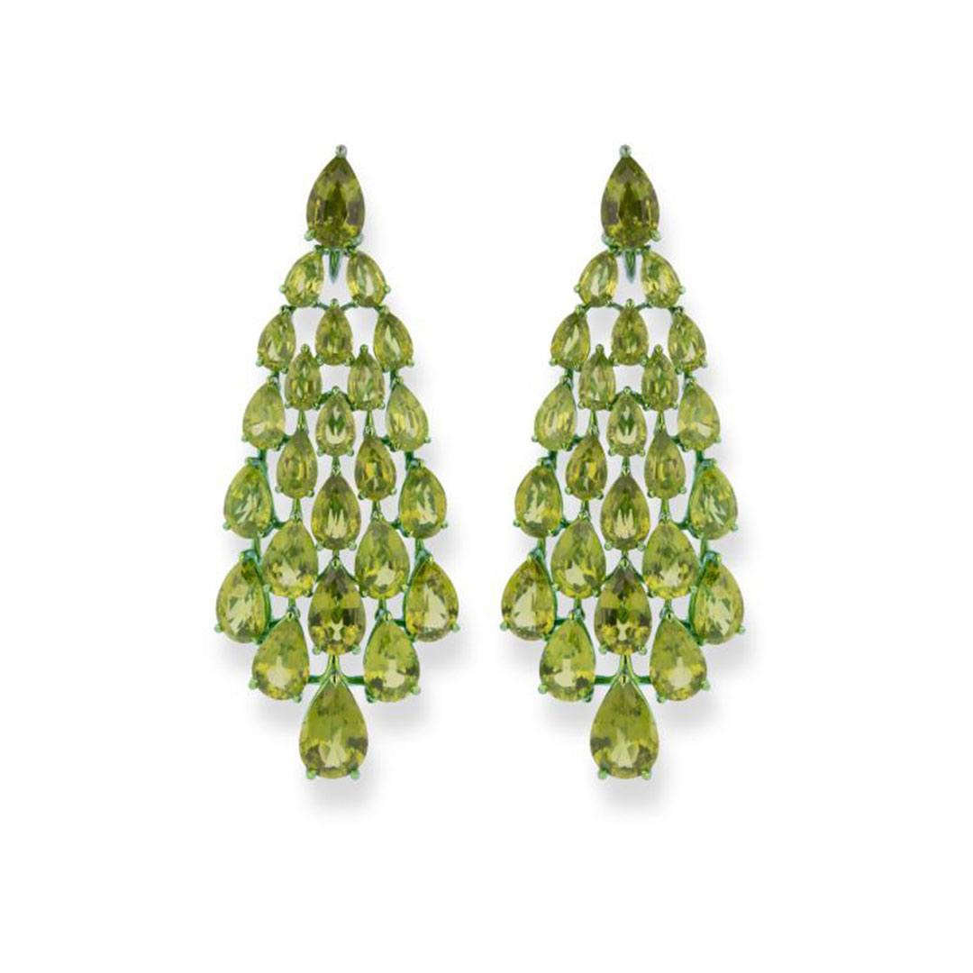 Chopard High jewelry earrings with 48 pear-shaped peridot stones totaling more than 87 carats, set in green-tinted titanium.
