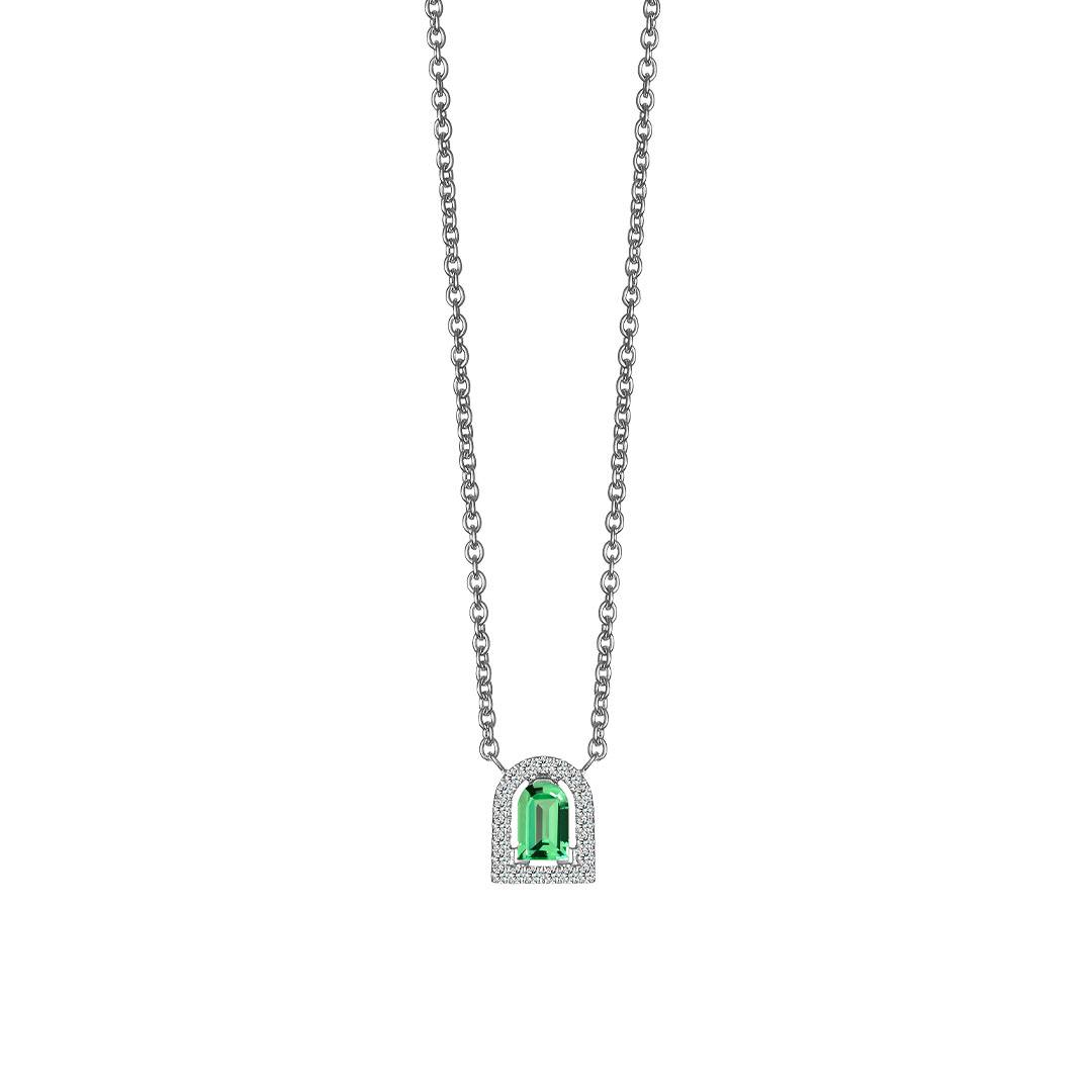 Davidor Couleur pendant necklace with Arch Cut green tourmaline and brilliant-cut diamonds, set in white gold.