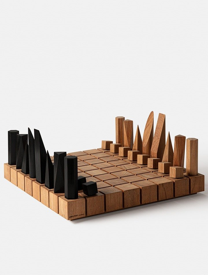 James Perse teak chess board set; available by special order