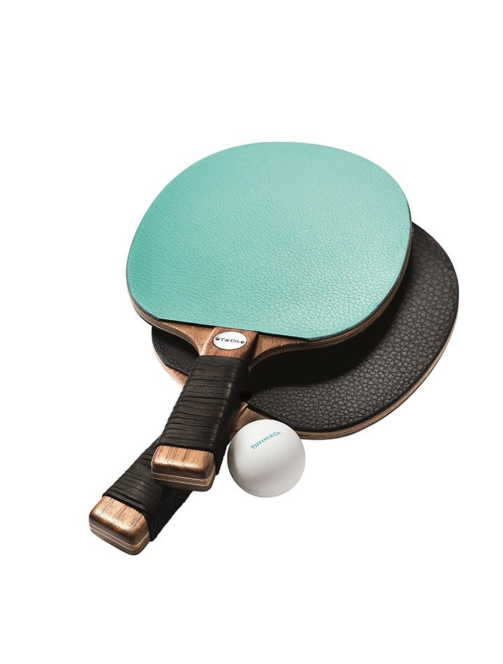 Tiffany & Co. leather and walnut table tennis paddle set
