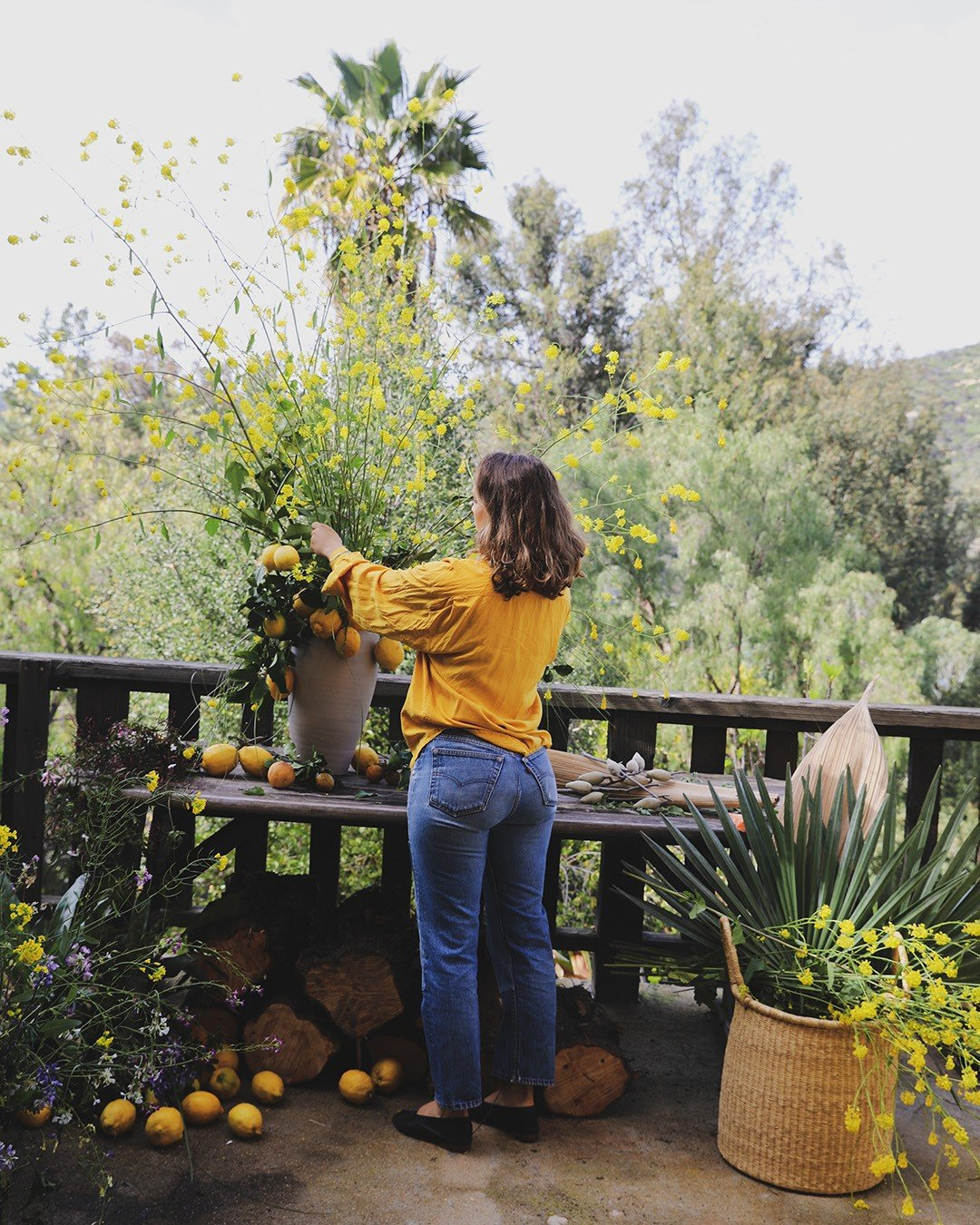 Moreno-Bunge at work on an arrangement of foraged wild mustard branches mixed with local citrus