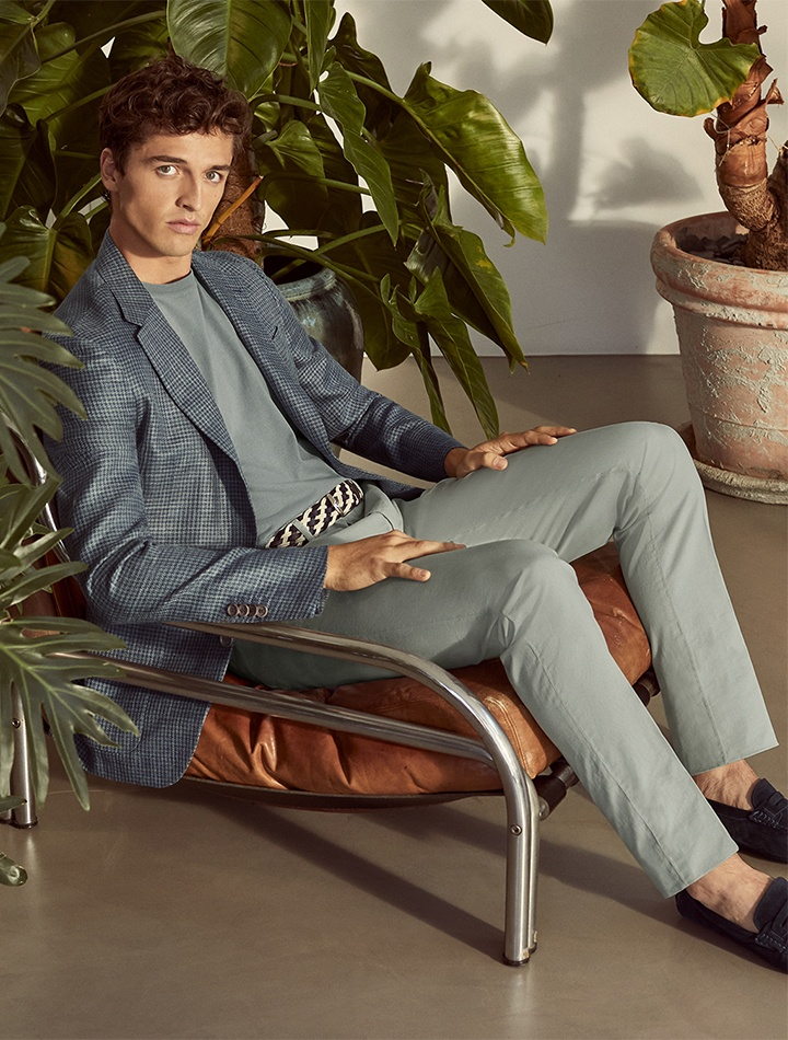 Canali Kei blazer, shirt and microtwill pants from the Canali 1934 SS21 collection