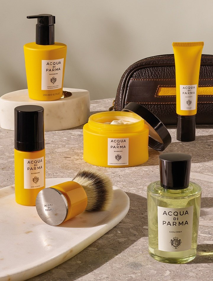 Acqua di Parma barbiere skincare and shaving products, available at Neiman Marcus Bal Harbour