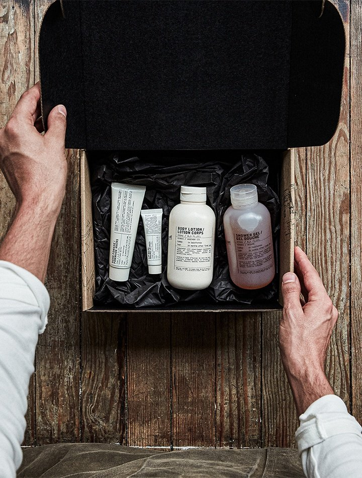 Le Labo skincare featuring hand pomade, lip balm, body lotion, and shower gel