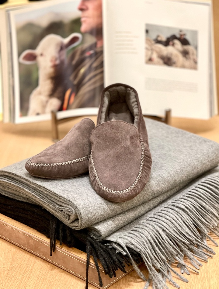 Loro Piana Maurice suede slippers and Unito cashmere blanket